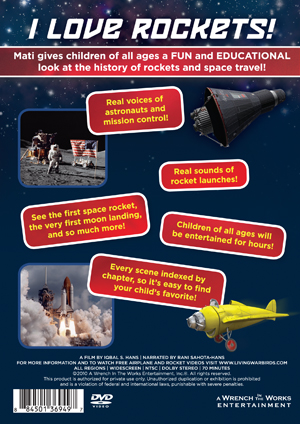 I Love Rockets! Kid's DVD about rockets and space travel - DVD cover back