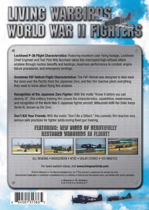 Living Warbirds: World War II Fighters Warbirds DVD Back Cover