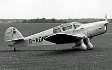 Aircraft Picture - Jean Batten's record-breaking D.3 Gull Six in 1954, named Jean on its cowling