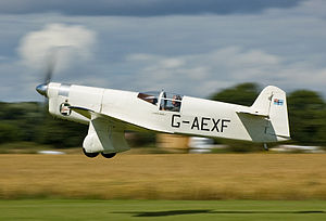 "Airplane Picture - Percival Mew Gull G-AEXF at Breighton Aerodrome, UK being piloted by Tony (""Taff"") Smith on 14 July 2007, photograph by Michael Rushforth."