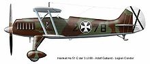 Airplane Picture - Heinkel He 51 C flown by Adolf Galland in Spanish Civil War