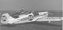 Airplane Picture - The Miles M.2L Hawk Speed Six wearing racing No.96 at Leeds (Yeadon) Airport in May 1955