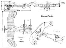 Airplane Picture - Design drawing of Taube from 1911
