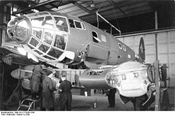 Airplane Picture - A He 111 in the preliminary stage of wing installation