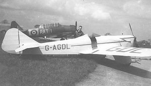Warbird Picture - The sixth Miles Sparrowhawk, operated by Nottingham Flying Club, displayed at Manchester (Ringway) Airport in April 1948. It crashed at Tollerton Airport on 19 June 1948.