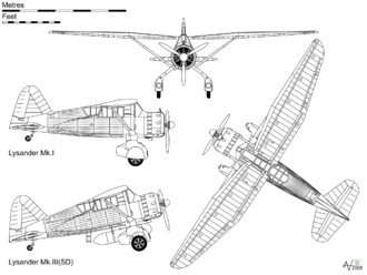 Airplane Picture - Orthographic projection of the Lysander Mk I, with profile view of the Mk.III(SD) covert operations aircraft.