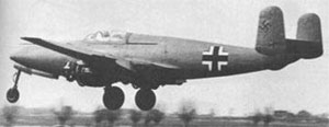 Warbird Picture - Heinkel He-280 V2. Note missing engine cowlings. Early flights were carried out with cowlings removed in order to minimize the risk of fire as a result of dripping fuel.
