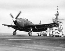 Airplane Picture - VA-174 AM-1 taking off from the USS Kearsarge in 1949