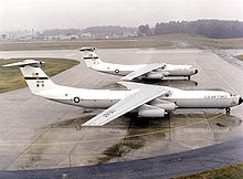 Airplane Picture - A lengthened C-141B in front of a C-141A