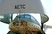 Airplane Picture - A detail of the C-5's nose assembly raised for loading and unloading.