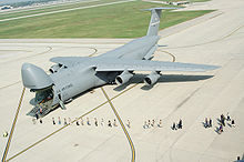 Airplane Picture - People in line to enter the 445th Airlift Wing's first C-5A Galaxy in 2005.
