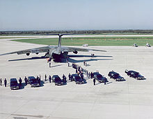 Airplane Picture - A MAC C-141 transport plane takes the remains of the crew of STS-51-L to Dover Air Force Base, Delaware.
