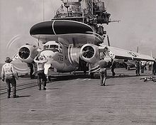 Airplane Picture - WF-2 of VAW-11 on the catapult of the USS Hancock in 1962.