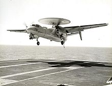 Airplane Picture - E-2A of VAW-11 landing in 1966 on the USS Coral Sea (CV-43)