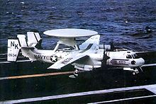 Airplane Picture - A VAW-113 E-2B after landing on the USS Coral Sea in 1979