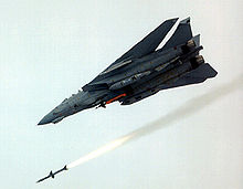 Airplane Picture - An F-14D launches an AIM-7 Sparrow. A GBU-24 Paveway III can also be seen being carried.
