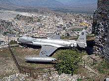Airplane Picture - United States Air Force Lockheed T-33 reconnaissance plane forced down in December 1957, on display in Gjirokastx«r, Albania.