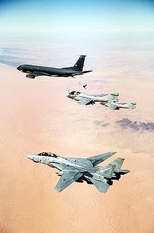 Airplane Picture - An F-14A Tomcat from VF-32 during Desert Storm. A KC-135 Stratotanker and two EA-6B Prowlers can be seen in the background.