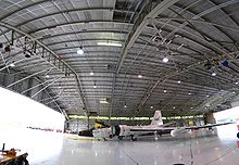 Airplane Picture - Panorama of Ellington field's hangar 990, with one of the two WB-57Fs inside.