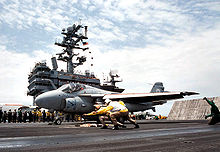 Airplane Picture - Final VA-34 A-6E Intruder launch from the flight deck the USS George Washington, 1996.