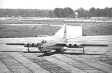 Airplane Picture - Martin XB-48 prototype taxiing, showing spaces between engines for cooling, tandem main gear, & nacelle outriggers.
