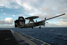 Airplane Picture - A U.S. Navy E-2C Hawkeye launches from USS John C. Stennis