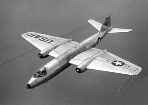 Warbird Picture - B-57A in flight over Chesapeake Bay, Maryland
