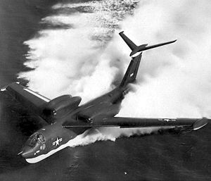 Warbird Picture - A P6M-2 SeaMaster on the water at speed.