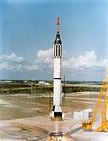 Aircraft Picture - Launch on May 5, 1961. The spacecraft is the black cone on top