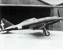 Aircraft Picture - Re.2005 prototype photographed at the factory, spring 1942; note the lack of a radio mast behind the cockpit