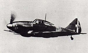 Airplane Picture - wartime photograph of a Re.2001 in flight c. 1943