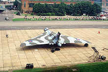 Airplane Picture - Aerial view of a Vulcan B.2 in late RAF markings on static display at RAF Mildenhall