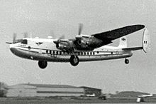 Airplane Picture - Air Charter York taking off from London Stansted in 1955 on a trooping flight through the Suez Canal Zone