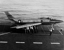 Airplane Picture - XF3H-1 prototype on the USS Coral Sea in 1953