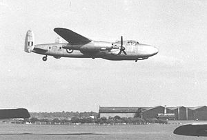 Warbird Picture - Avro Nene Lancastrian test-bed demonstrating on its two jets with its Merlins feathered at Coventry Airport in June 1954
