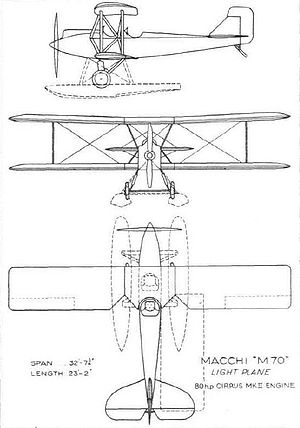 Airplane Picture - Line drawings of the M.70 published on 21 February 1929. Note that the drawings depict both the landplane and floatplane configurations of the M.70.