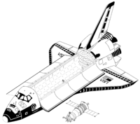 Airplane Picture - Space Shuttle Orbiter and Soyuz-TM (drawn to scale).