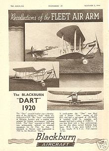 Airplane Picture - Blackburn company advertisement announcing the Blackburn Dart (note the erroneous 1920 date)