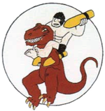 Airplane Picture - World War II emblem of the 327th Bombardment Squadron, featuring characters from the Alley Oop comic strip