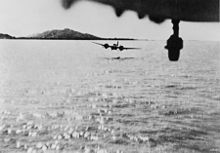 Airplane Picture - Blenheims of No. 60 Squadron RAF flying low to attack a Japanese coaster off Akyab, Burma on 11 October 1942