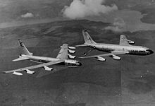 Airplane Picture - A Cold War-era image of B-52D tanking from a KC-135A