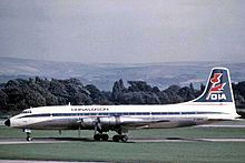 Airplane Picture - Donaldson Airways Britannia Model 312 G-AOVF at Manchester Airport, September 1971