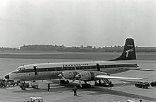 Airplane Picture - Ex-Canadian Pacific Air Lines Britannia Model 314 of Transglobe Airways at Manchester Airport in June 1966
