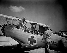 Airplane Picture - US Navy N2S ambulance at NAS Corpus Christi, 1942.