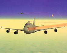 Airplane Picture - Artist impression of two YAL-1As shooting down ballistic missiles. Laser beams drawn red for visibility.