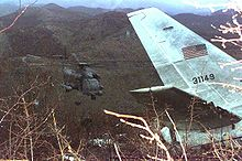 Airplane Picture - USAF MH-53J Pave Low helicopter near the wreckage of the USAF CT-43A in Croatia in 1996