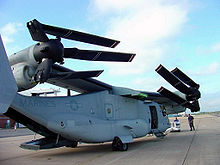 Airplane Picture - First production Osprey to join the V-22 Navy flight test program since resumption of flight evaluations in May 2002. Aircraft is shown in compact storage configuration.