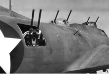 Airplane Picture - Close-up of the array of 50-cal guns on the Boeing YB-40 Flying Fortress