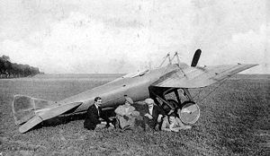 Warbird Picture - An early Deperdussin Monocoque sports plane with a single-row engine (the racers had double-row Gnome Double Lambda engines) and four of its pilots. From left to right: Guillaume Busson, Ren� Vidart, Jules V�drines and Maurice Prevost