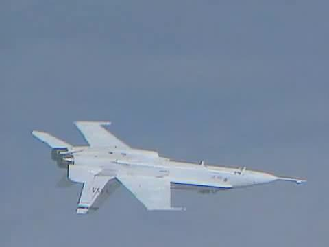 Airplane Picture - F/A-18A (now X-53) Active Aeroelastic Wing (AAW) flight test, March 2005